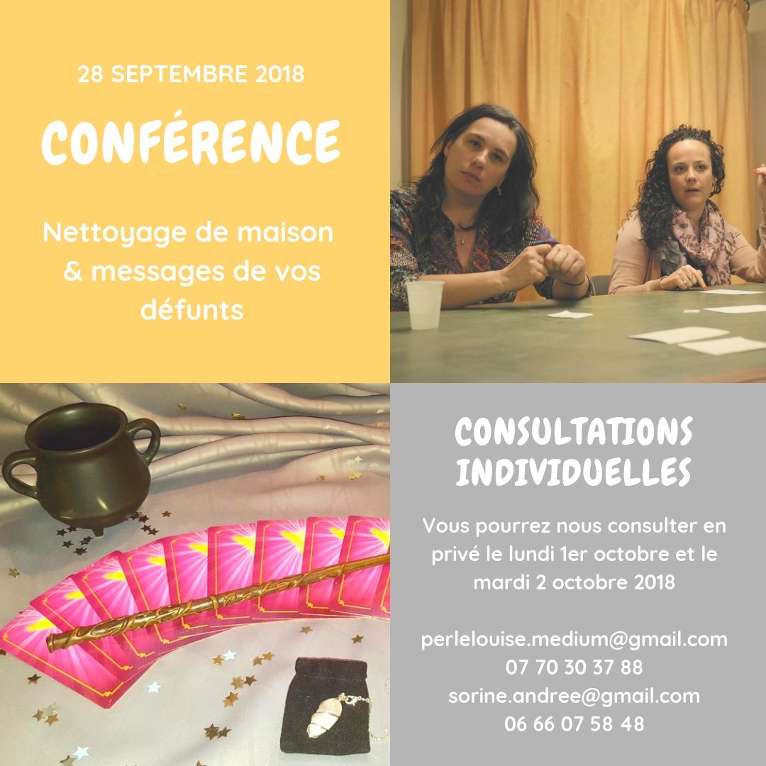 28/9/18-Conférence Auvergne : Nettoyage de lieux Messages de vos vies et de vos défunts